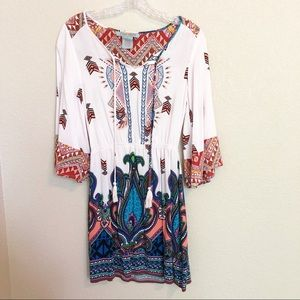 FLYING TOMATO Aztec Paisley Embroidered Dress